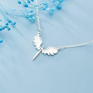 925 Sterling Silver Guardian Angel Open Wings Cross Necklace Pendant Christening
