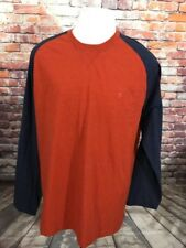 IZOD MEN'S FIREBRICK COTTON LONG SLEEVE CREWNECK T-SHIRT SIZE L B08-09