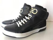 Salvatore Ferragamo Ankle Strap High Top Black Leather Trainers, UK 8, EU 42,VGC