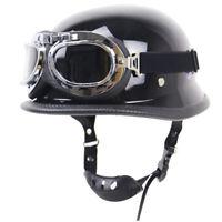 DOT German Motorcycle Half Helmet Skull Cap Goggles Chopper Scooter S/M/L/XL/XXL