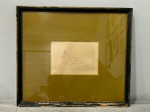 Antique Italian Amedeo Modigliani Nude Woman Etching Nue Couchee de Dos
