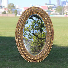 Wooden Oval Gold Mirror on Mirror with Beaded Frame 80CM * 55CM