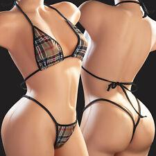 Exotic Dance Wear Swimwear 2pc Plaid Bikini Set Y-Thong