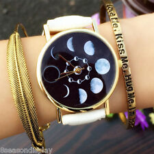 FLWomen Simple Eclipse Design Leather Strap Band Analog Quartz Wrist Watch