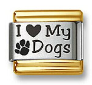Italian Charm Bracelet Link Laser I Heart My Dogs 9mm Gold Trim Stainless Steel
