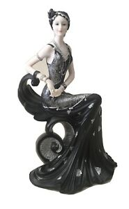 Art Deco Resin Gatsby Lady Sitting Figurine Sculpture Collector Ornament 23cm H