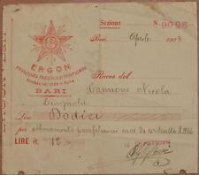 RICEVUTA ERGON FABBRICA PARAFULMINI BARI 1913 LIGHTING ROD PAGAMENTO