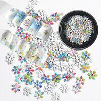 3D Nail Art Metal Snowflake Glitter Mixed Sequins Xmas DIY Manicure Decor Tips