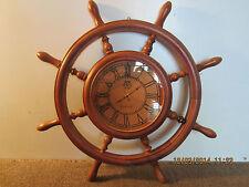 "MARITIME, REPLICA SHIP WHEEL WOODEN 20"" CLOCK"