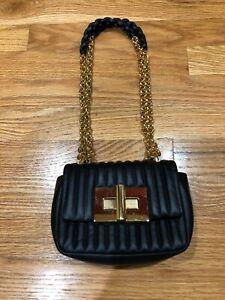 $2050 Tom Ford Mini Small Black Shoulder bag Gold Chain Purse Handbag Cross Body