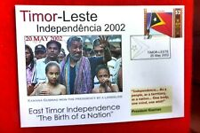 2002 EAST TIMOR LESTE INDEPENDENCE 1ST STAMP ISSUE $2 STAMP COVER WIUTH CACHET
