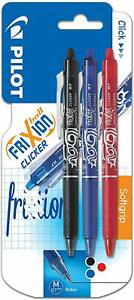 Pilot Frixion Clicker Erasable Rollerball, 0.7 mm - 3 pack Black/Blue/Red - New