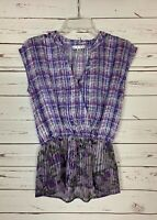 Cabi Women's XS Extra Small Purple Floral Plaid Cute Eva Sheer Top Blouse Shirt