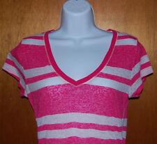 Aeropostale V Neck Pink & White Striped Short Sleeve Shirt Womens Large