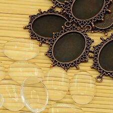 10set Retro Oval Clear Glass Cabochons Cover Alloy Blank Tray Settings Jewelry