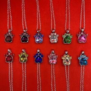 Birthstone (Zodiac Sign)  Heart Paw Charm Silver Pendant Necklace (Dog Pet) NEW