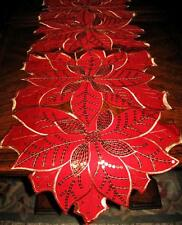 "Red Poinsettia Shimmery Gold Sequin Flowers Christmas Decor Table Runner 68""x12"