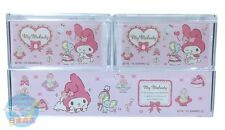 NEW! SANRIO My Melody KAWAII Square Resin Pile Up Stack Case 3 piece Set JAPAN