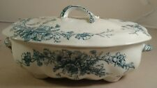 Antique Doulton Burslem Rutland Blue & White Floral Lidded Tureen c.1891-1902
