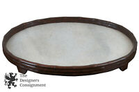 Lg Vtg Marble & Wood Footed Trivet Bar Tray Oval Plateau Serving Display Vanity