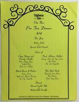 1980's Vintage Prix Fixe Menu CALABASAS INN Calabasa California