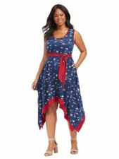 NEW EFFIE'S HEART BLUE MOUETTE PRINT BEACHCOMBER FIT AND FLARE BIRD PRINT 1X/2X