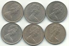 HIGHER GRADE LOT 6 GREAT BRITAIN 10 PENCE COIN-1968,1969,71,76,1977,1980-JUN552