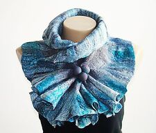 Gray Turquoise Wool Scarf Neckpiece Collar Wrap Scarf Shibori Holiday Gift