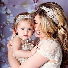 2 Pcs Stunning Rhinestone Mother and Baby Headband Elastic Baby Girl Rhinestone