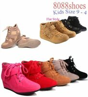 Youth Girl's Kid's Round Toe Flat Low Wedg Lace Up Bootie Shoes  Size 9 - 4 NEW