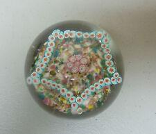 BEAUTIFUL ANTIQUE MILLEFIORI ART GLASS PAPERWEIGHT, COPPER MICA