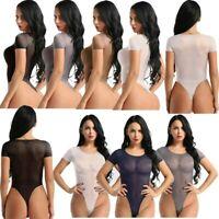 Women Sexy Mesh Lingerie Short Sleeve Bodysuit Romper Swimsuit Jumpsuit Leotards