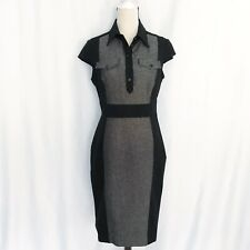 Karen Millen black gray cap sleeve sheath dress career size 10