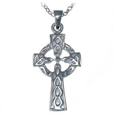 """Sterling Silver Celtic Cross Pendant Necklace with 18"""" Chain & Gift Box"""