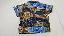 RJC Kids 1T Hawaiian Shirt Boys Blue Brown SS Button Down