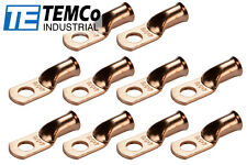 """10 Lot 4 AWG 5/16"""" Hole Ring Terminal Lug Bare Copper Uninsulated Gauge"""