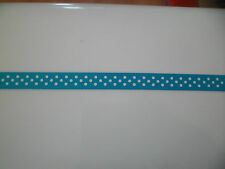 2 mtrs of Polka Dot Ribbon 10mm wide turquoise and white satin crafts xmas