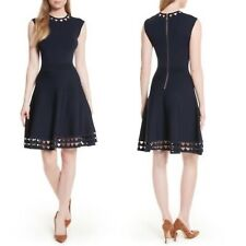 Ted Baker London Kathryn Cutwork Blue Knit Skater Dress Ted Size 5 US Size 12