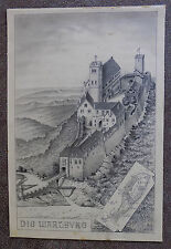 """Wartburg in Eisenach"" by Christian Peip,(1843-1922) Late 19th Century Drawing"
