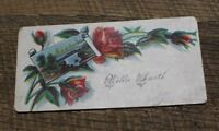 Antique Victorian Calling Card Willie Smith Roses Flowers Floral Lovely Romantic