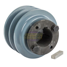 "Cast Iron 3.5"" 2 Groove Dual Belt B Section 5L Pulley And 1-3/8"" Sheave Bushing"