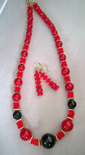 Rockabilly Red and Black Lucite Necklace Set by Victoria St John Designs