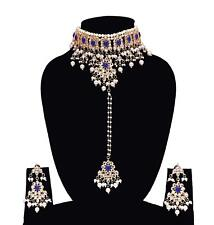 Bridal Women Wedding Ethnic Jewelry Indian Pearl Blue Necklace Earring Bollywood