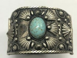 Vintage Turquoise Blue Glass Cabochon Cuff Hinged Silver Plated Bangle Bracelet