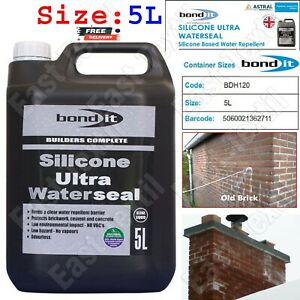 Bond It 5L Silicone Ultra Waterseal Brick & Masonry Water Repellent Seal Render