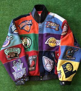 Jeff Hamilton NBA Patch Leather Vintage Jacket Size 6XL Preowned