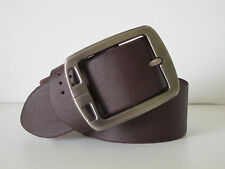 NEW MENS 100% REAL GENUINE LEATHER BELT COFFEE BRUSHED ALLOY BUCKLE 32""