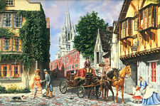 """FX Schmid """"A DAY FOR A BROUGHAM RIDE"""" Victorian Town 300pc BOXLESS Puzzle *100%*"""