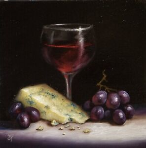 Jane Palmer Art original Still Life oil painting Framed, Cheese Wine And Grapes