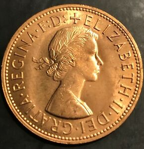 1963 PENNY GREAT BRITAIN PENNY UNCIRCULATED  ELIZABETH II WORLD COIN #16